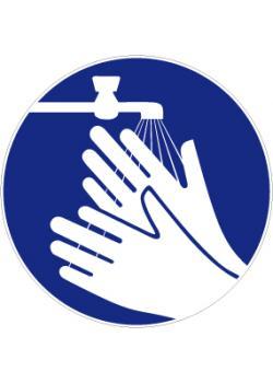 """Påbudsskylt """"tvätta händerna"""" - Ø 5-40 cm"""