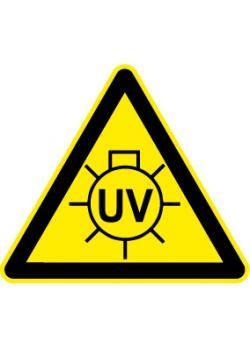 """Varningsskylt """"UV-strålning"""" - sidolängd 5-40 cm"""
