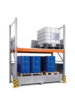 Combi-Regal Typ 3 K4-I - mit Auffangwanne verzinkt oder lackiert - für 4 IBC à 1000 Liter