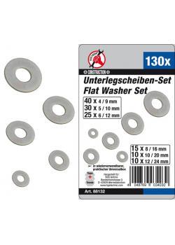 Washers range - Thickness 4, 5, 6, 8, 10 & 12 mm - galvanized - 130 pcs.