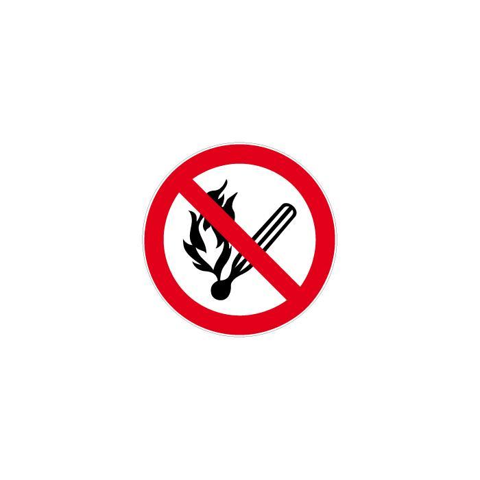 """Verbotszeichen  """"Feuer, offenes Licht und Rauchen verboten"""" Durchmesser 5 bis 40"""