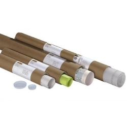 Versandhülsen - rund - mit Plastikboden und -Deckel - 10 Stück - DIN A2 - 50,0 x 7,6 cm\n