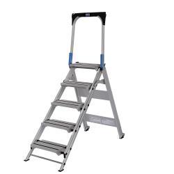 Klapptreppe mit Haltebügel - Aluminium - Arbeitshöhe 2,65 bis 3 m - Stufenzahl 3 bis 5