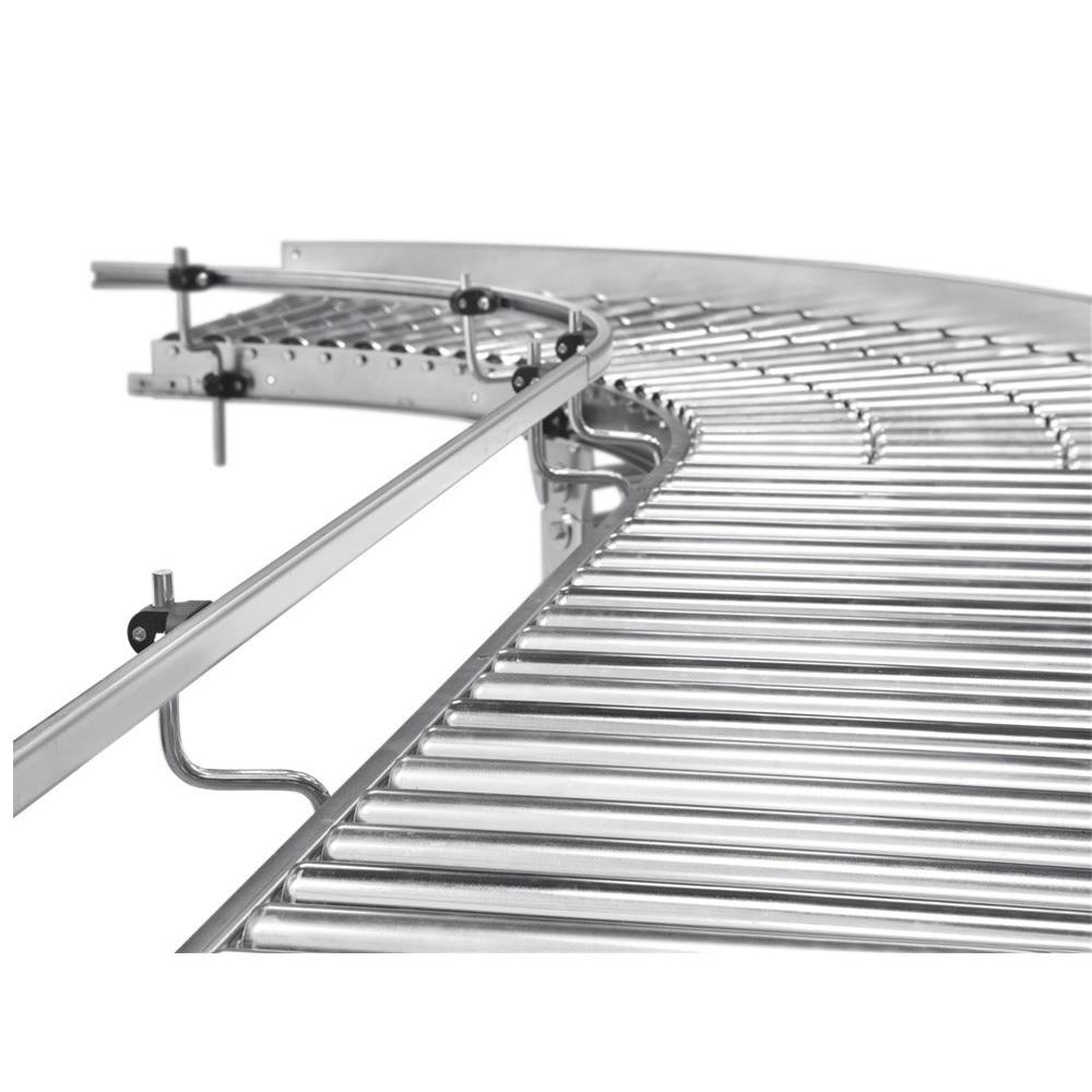 Liten rulltransportör - stålrullar - kurvdesign - innerradie 800 mm - galvaniserad