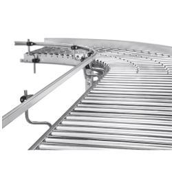 Liten rulletransportør - stålstøtteruller - kurvedesign - indre radius 800 mm - galvanisert