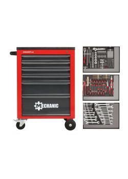 GEDORE czerwony Zestaw narzędzi w wózku warsztatowym MECHANIK - blacha stalowa - 129 sztuk