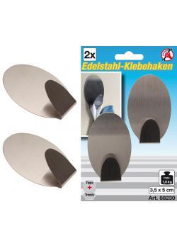 Edelstahl-Klebehaken - Ovale Form - 3,5 cm x 5 cm - Traglast max. 1,0 kg - 2-tlg.