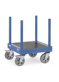 Long material trolley - Capacity 1500 kg - with stanchions 550 mm long