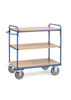 Shelved trolley - with 3 floors of wood - 600 kg