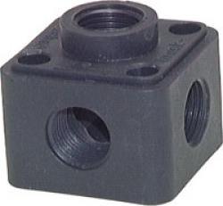 """Luftfördelare - 5x G 1/2"""" 5 utgångar för kabelkanal - plast"""