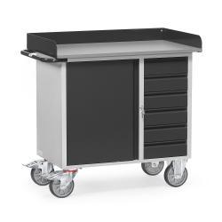 Werkstattwagen - mit 1 Schrank und 6 Schubladen - Arbeitsplatte mit Abrollrand