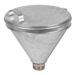 """Påfyllstratt för 2"""" standardfat - förzinkad stål - silinsats - Ø 300 mm - fälloc"""