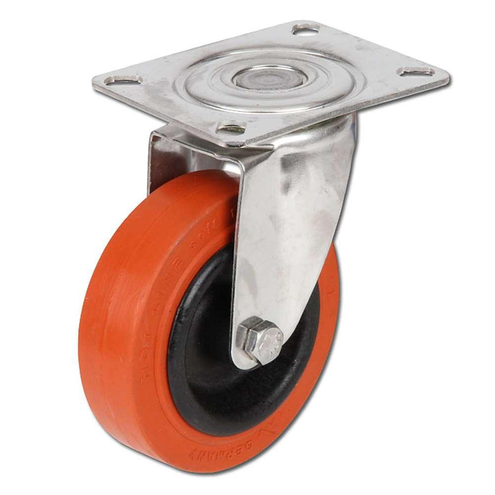 Lenkrolle - Kunststoffrad - Rad-Ø 100 bis 125 mm - Bauhöhe 128 bis 155 mm - Tragkraft 80 bis 100 kg