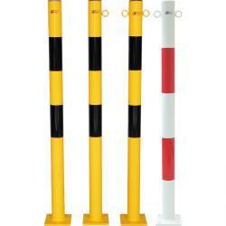 Słupki - Stal - 1010mm - biały / czerwony lub czarny / żółty. - Z podstawą - m