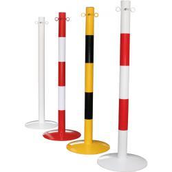 Kjettingstolper - stål - med maljer - 1000mm - 7kg - rød / hvit / gul - med bunnplate