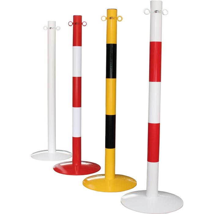 Kettenpfosten - Stahl - mit Ösen - 1000mm - ca. 7kg - rot/weiß/gelb - mit Bodenp