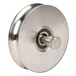 Seilrolle - Edelstahl - halbrunde Nut - 2 Kugellager - Rad-Ø 117 bis 197 mm - Tragkraft 450 bis 625 kg