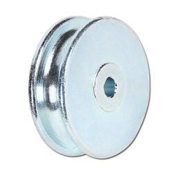 Seilrolle aus Stahl - halbrunde Nut - Rad-Ø 30 mm - Radbreite 10 mm - Radbohrung Ø 4,1 mm - Nabenlänge 11 mm - Tragkraft 15 kg