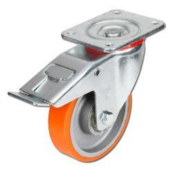 Heavy-duty castor with wheel stops - polyurethane - max. 600 kg