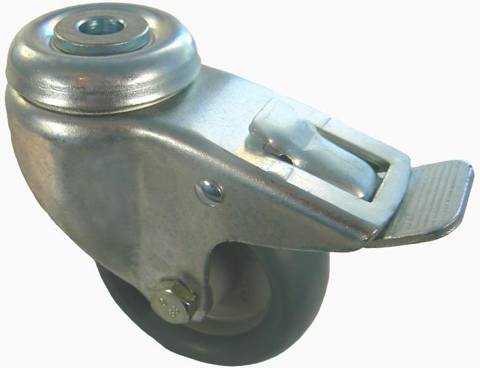 Edelstahl-Lenkrolle - PP Tragkraft 40-100 kg Doppelstopp - Rückenl. - von Torweg