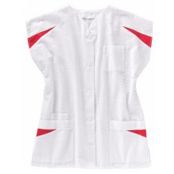 Ladies tunic from beb Seersucker - white/wine red