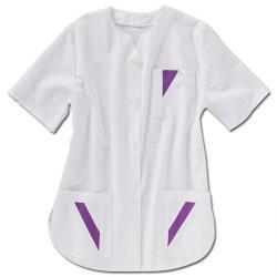"Damenkasack - ""beb"" 50% CO/50% PES - Seersucker-weiß/violett"