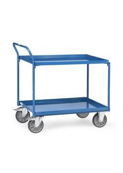 Table trolley - 400 kg - with 2 shelves from metal trays - handle high standing