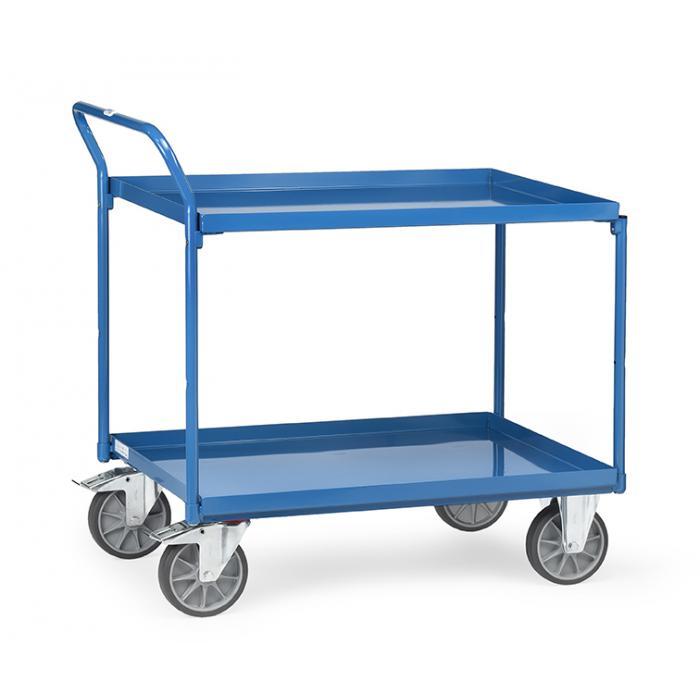 Tabella trolley - 400 kg - con 2 ripiani da vassoi di metallo - gestire elevato standing