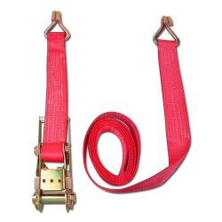 Cinghia di fissaggio - due pezzi - larghezza 75 millimetri - 5000daN - con cricchetto