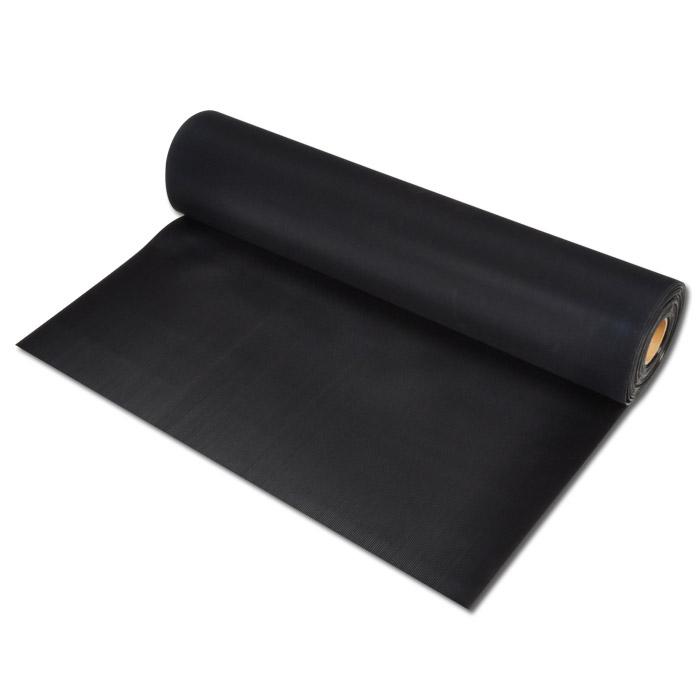 Gummi finmåttmatta - tjocklek 3,0 mm - med inlägg - färg svart - pris per rulla