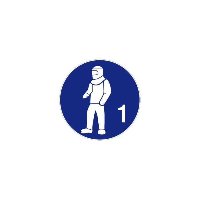 """Påbudsskylt """"använd hel skyddsdräkt"""" - Ø 5-40 cm"""