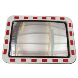 Traffic mirrors made of acrylic glass - red-white border - with tilt joint and u