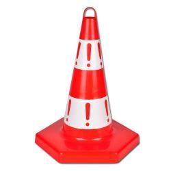 Cône de signalisation à pied hexagonal - hauteur 50 cm - polypropylène rouge/blanc non réflechissant