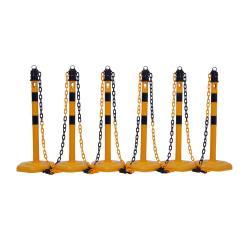 Set di dissuasori con catena - 4 dissuasori - con occhielli - altezza 1000 mm - giallo/nero