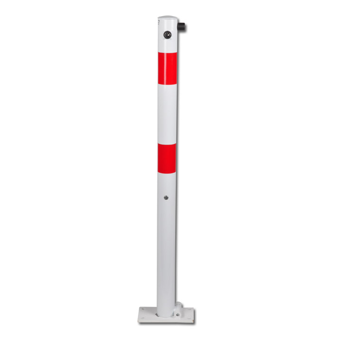 Absperrpfosten - Stahl - 1000mm - weiß/rot - zum Aufdübeln - umlegbar - verschli