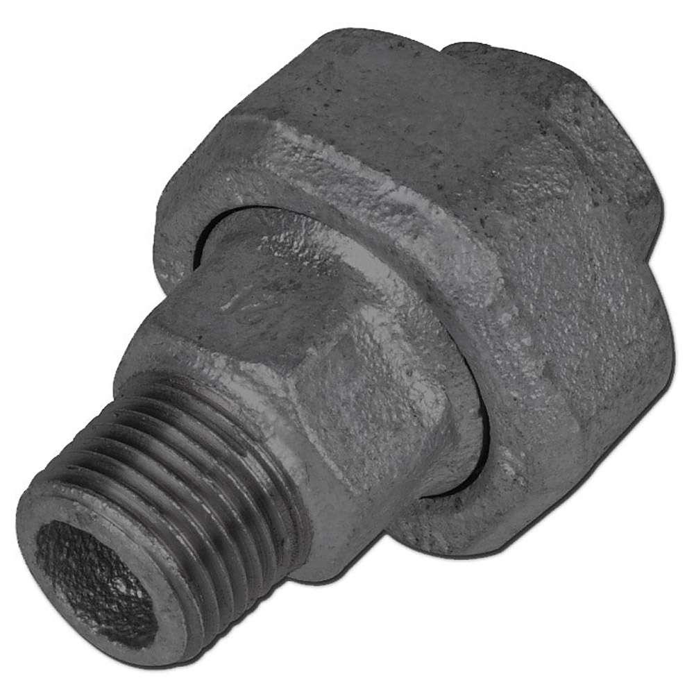 "Gerade Verschraubung - Typ 335 - Gewinde 1/2"" bis 1½"" - EN 10242 - flach dichtend - Material Temperguss schwarz oder verzinkt"