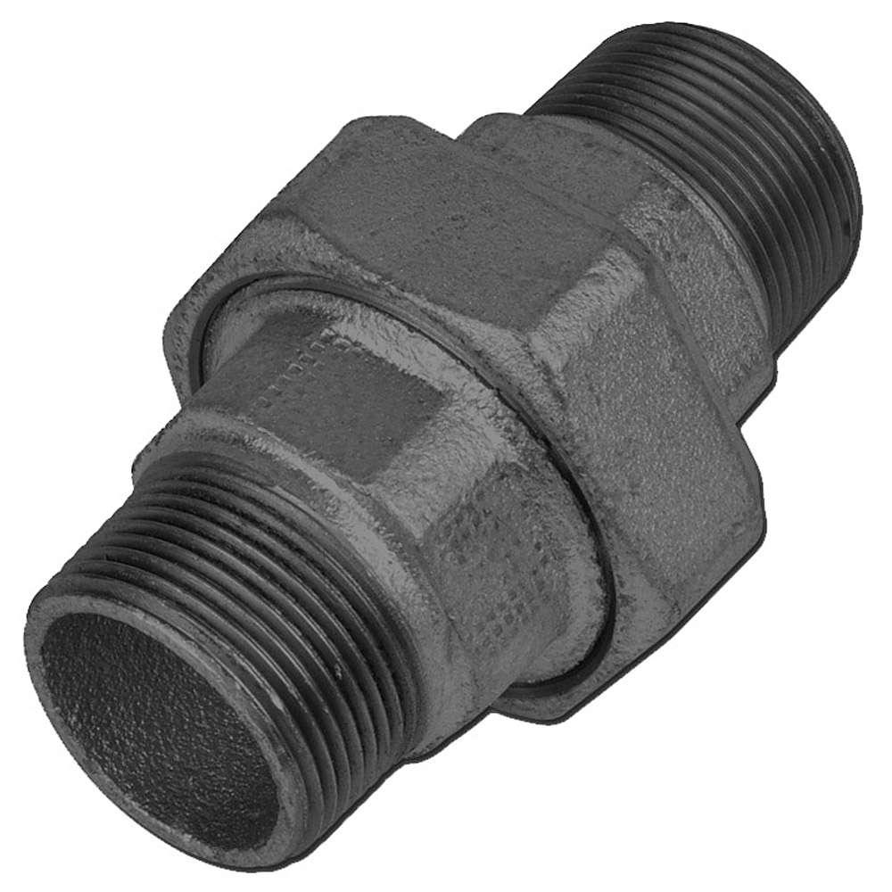 "Gerade Verschraubung - Typ 336 - Gewinde 1/2"" bis 1/½"" - EN 10242 - flach dichtend - Material Temperguss schwarz oder verzinkt"