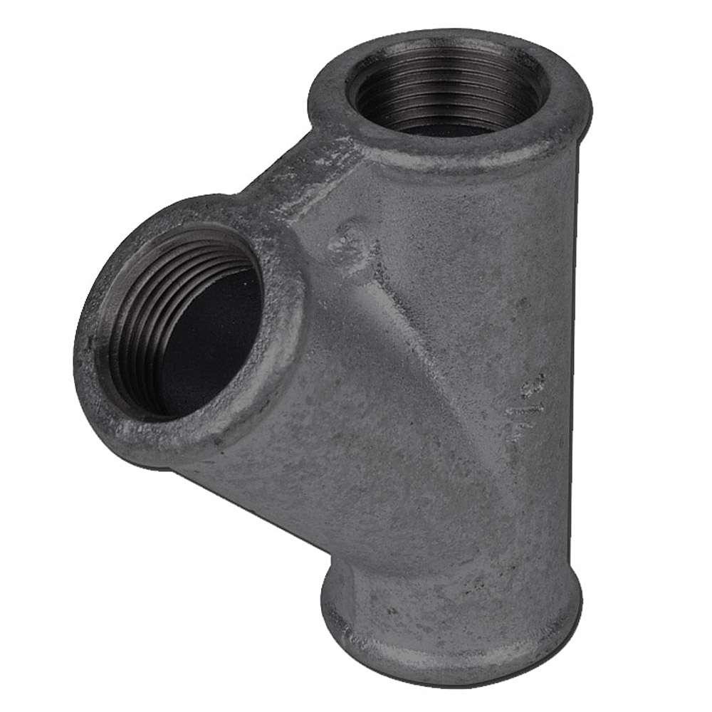 """T-Verteiler 45° - Typ 165 - Gewinde 3/8"""" - 2"""" - Material temperguss schwarz oder verzinkt"""