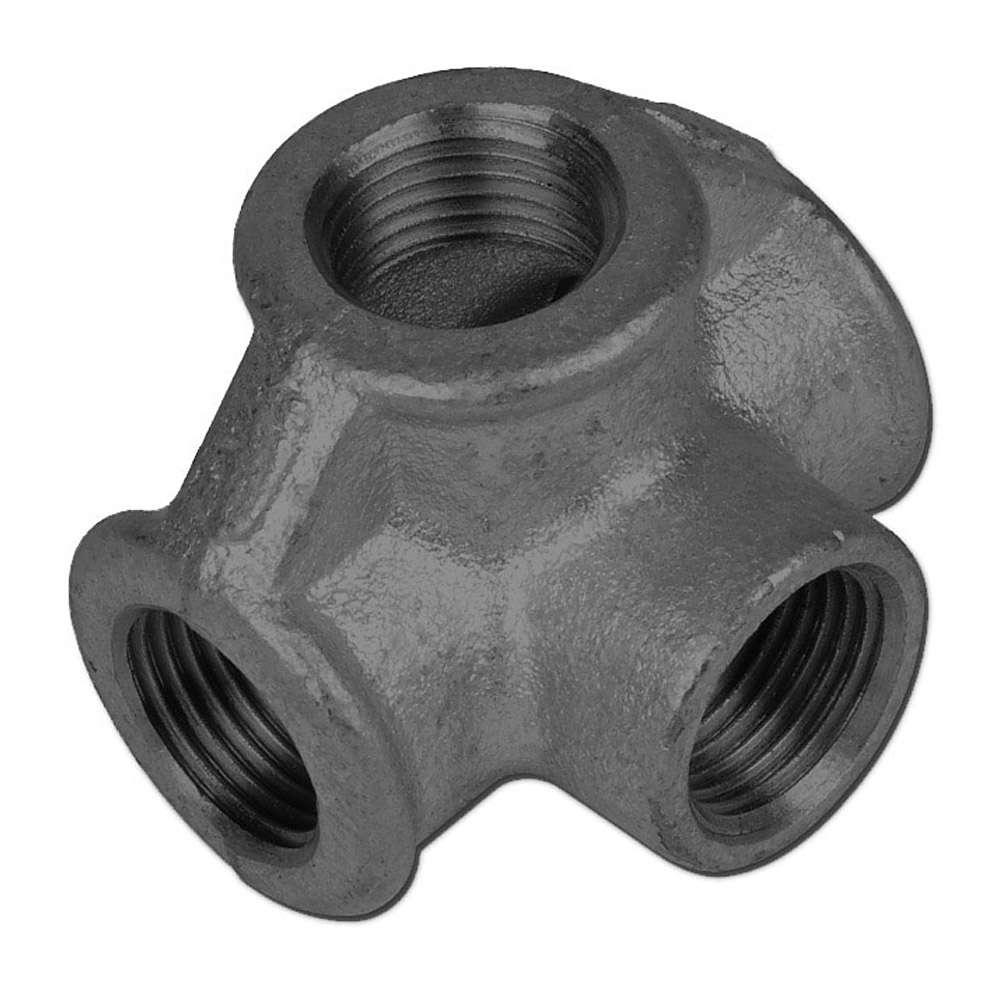"""T Verteiler - Typ 223 90° Za2  - Gweinde 1/2"""" bis 1"""" - Material Temperguss schwarz oder verzinkt"""