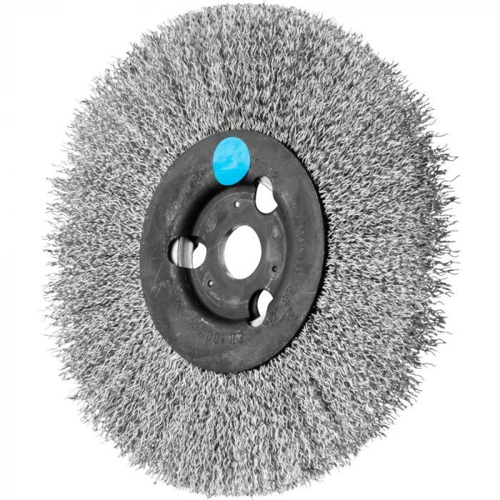 PFERD Rundbürste RBU - ungezopft - schmal - INOX - Außen-ø 125 bis 250 mm - Besatzbreite 12 bis 20 mm - Bo./Adapter 14,0 und 22,2 - Besatzmaterial-ø 0,30 mm - VE 2 Stück - Preis per VE