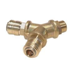 """2-way air switch - brass - with 2 coupling sockets NW 7.2 - cylindrical external thread G 1/2 """"- up to max. 35 bar"""