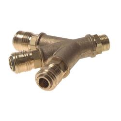 """3-way air switch - brass - with 3 coupling sockets NW 7.2 - cylindrical external thread G 1/2 """"- up to max. 35 bar"""