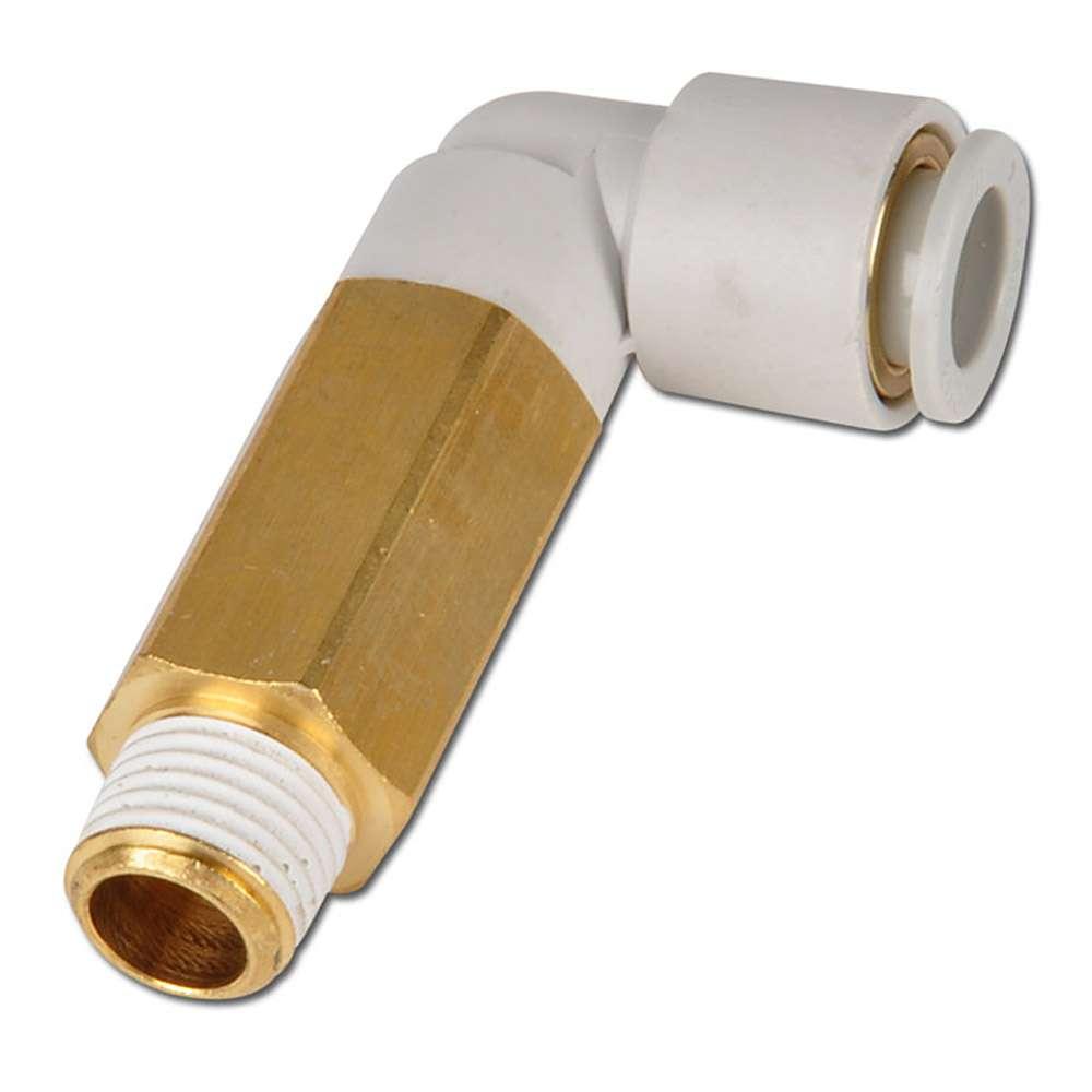 Stickkoppling - 90° - förlängd - för 1 slang - utvändig 6-kant