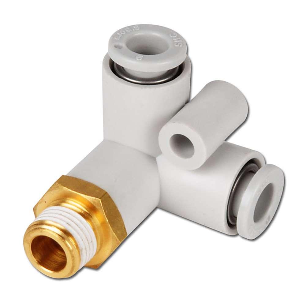 Stickkoppling - 90° - för 2 slangar - utvändig gänga - utvändig 6-kant