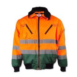 """Restposten - Pilotenjacke """"TORBEN"""" - 60 % CO - 40 % PES - Gr. XXXL (66/68) - orange/forstgrün"""