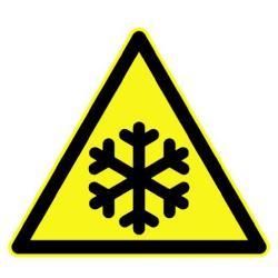 """Restposten - Warn-Schild - """"Warnung vor Kälte"""" - Schenkellänge 100 mm - PVC-Folie selbstklebend - nach DIN 67510"""