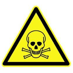 """Restposten - Warn-Schild - """"Warnung vor giftigen Stoffen"""" - Schenkellänge 200 mm - PVC-Folie selbstklebend - nach DIN 67510"""