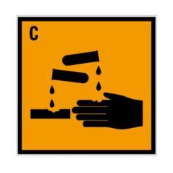 """Restposten - Schild Gefahrstoff """"Ätzend"""" - Folie mit selbstklebender Beschichtung - 20 x 20 cm - im Innen- und Aussenbereich einsetzbar"""