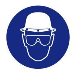 """Restposten - Gebots-Zeichen - """"Helm und Vollschutzbrille tragen"""" - Kunststoff - Durchmesser 20 cm - Dicke 1 mm - nach BGV A8"""