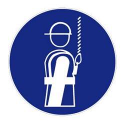 """Restposten - Gebots-Zeichen - """"Auffanggurt benutzen"""" - Folie - Durchmesser 20 cm - Dicke 0,3 mm - nach BGV A8"""